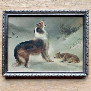 "Wood Framed Print ""Found"" Collie Dog & Lamb"